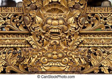 Balinese sculpture - Balinese wooden sculpture of mask...