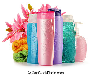Plastic bottles of body care and beauty products -...