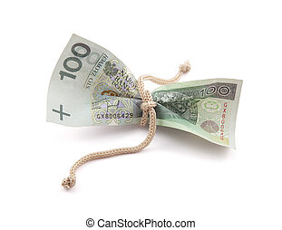 Polish money tied in twine