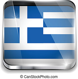 Greece Flag Smartphone Application Square Buttons
