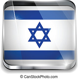 Israel Flag Smartphone Application Square Buttons