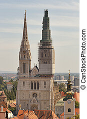 Zagreb Cathedral towers - Zagreb St Stephen Cathedral with...