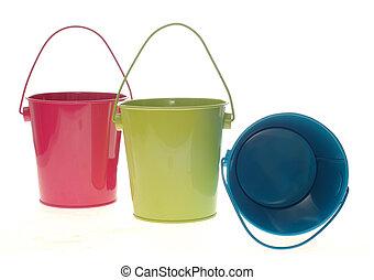 pail - three colorful metal pail