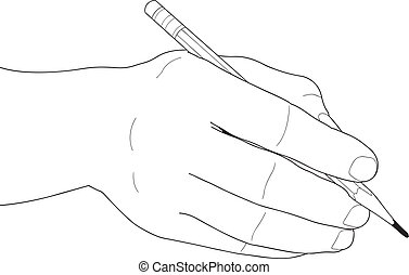 Hand holding a penci - Human hands with pencil and eraser