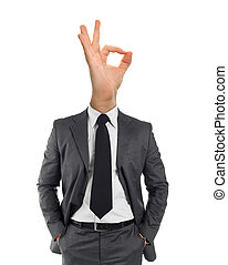 Businessman with ok hand instead of his head