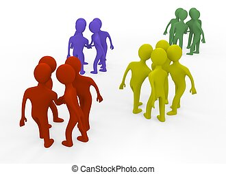 3d  people teams  in a circle