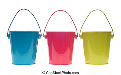 three colorful metal pail