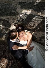 Wedding couple in romantic pose