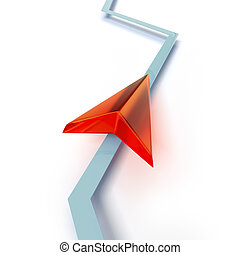 Red arrow for navigation isolated on a white background