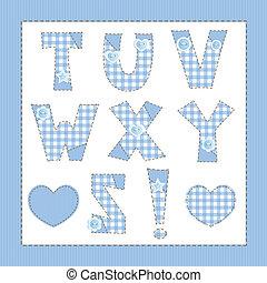 azul, tecido, alfabeto, letras, t, U, V, W, X, Y, Z