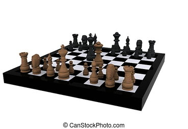 3D Chess - King against Queen
