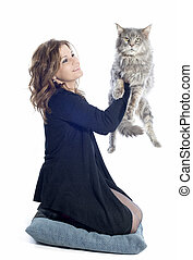 maine coon cat and woman - portrait of a purebred maine coon...