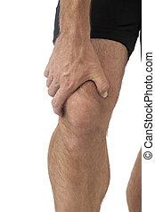 homem, joelho, dor