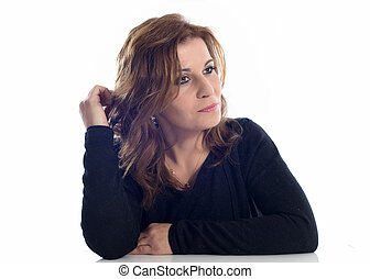 pensive woman - sad woman in front of white background