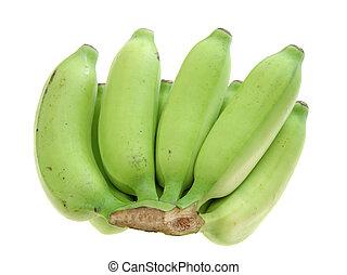 banana - a green banana bunch  on white