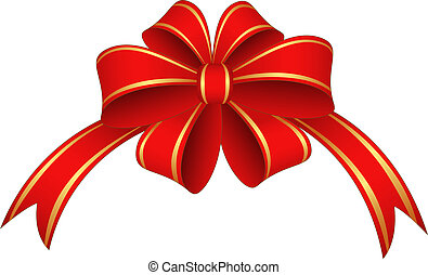 Red ribbon and bow - Red and gold ribbon and bow. Vector...