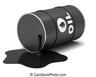 Oil barrels on a white background