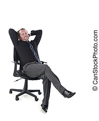 portrait of a doctor relaxing on chair - Portrait of a...