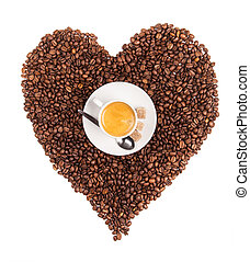 Heart with coffee cup made of coffee beans, isolated on white background