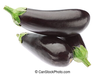 Three ripe eggplants in a heap On a white background