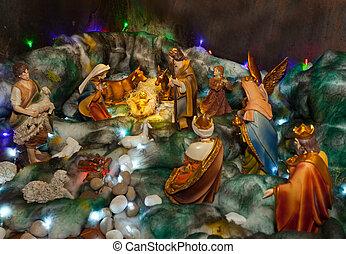 natividade, figuras, Natal, Berço