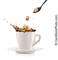 Coffee splashing out of cup with flying sugar cubes, isolated on white background