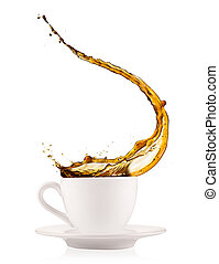 Coffee splashing out of cup, isolated on white background