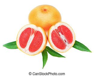 maduro, toronja, naranja, dos, mitades, en, blanco, Plano de...