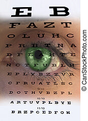 Eye test vision chart with man's fa