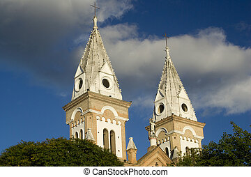 Colonial Church in Ecuador, blue sky and clouds