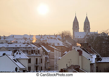 Old town of Wiesbaden at winter time, Hesse, Germany