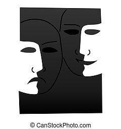 Theatre masks lucky sad - illustration - Theatre masks lucky...