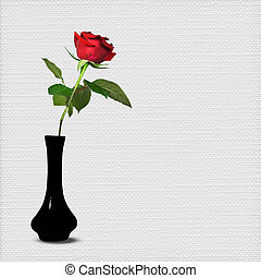 long stem red rose - Red rose in black vase.