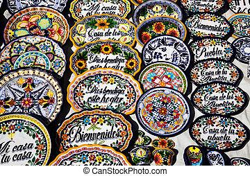 Mexican souvenirs on sale in Puebla, Mexico