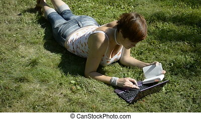 A student lying on the grass