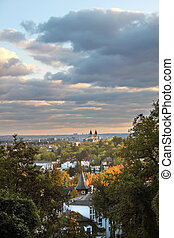 View of Wiesbaden from Neroberg hill, Hesse, Germany