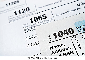 US Income Tax Return forms 1040,1065,1120