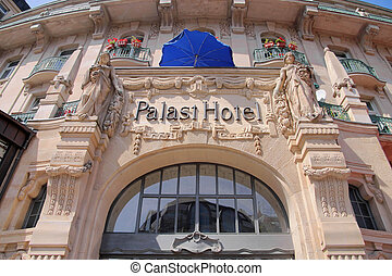 Facade of former Palace Hotel in Wiesbaden, Hesse, Germany