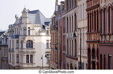 Houses in the old town of Wiesbaden, Hesse, Germany