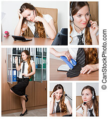 Business theme: Collage of successful businesswoman in...