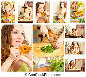 Collage of pregnant woman on kitchen with fresh...