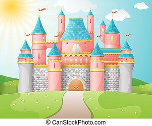 FairyTale castle illustration. EPS 10 vector.