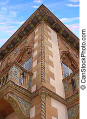 A vertical view of the second story CÃ d\\\'Zan in Sarasota...