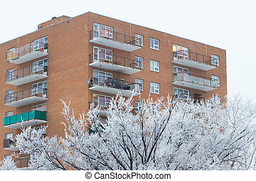 Apartment in snowy day - Apartment building on a snowy day...