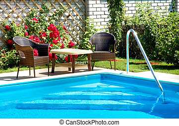 Pool - pool with lounge area and garden patio furniture