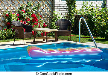 pool with inflatable mattress - pool with seating and...