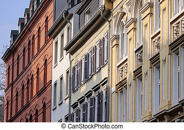 Facades in the old town of Wiesbade - Houses in the old town...