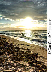 Maui Sunset - Sunset over the Pacific Ocean in beautiful...