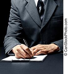 homem negócios, Assinando, documento