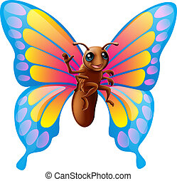 Cute cartoon butterfly - Illustration of a happy cute...